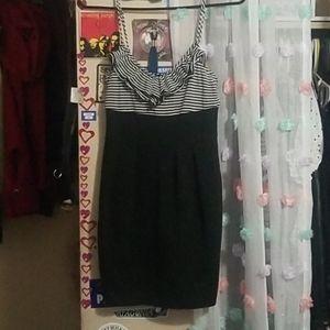 Black  & white striped ruffle dress size S